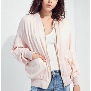Silence + Noise Blush Satin Bomber Jacket